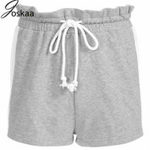 Joskaa 2019 Casual Summer Booty Shorts Ruffles Side Stripe High Waist Shorts Women Tie up Sashes Short Pants Bottom Clothes