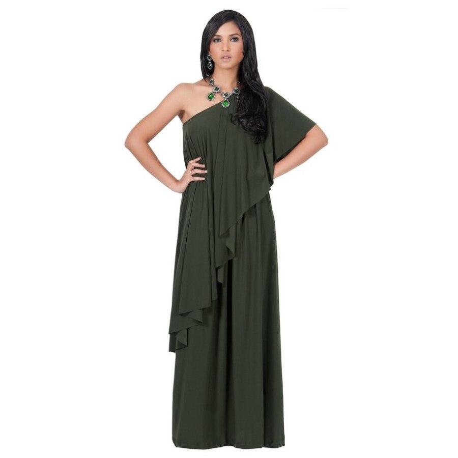 e42c5588b1e Fd6519 Для женщин модные высокие платье Цвет Асимметричный одно плечо  каскадные оборки полной длины пикантные вечерние Макси платья