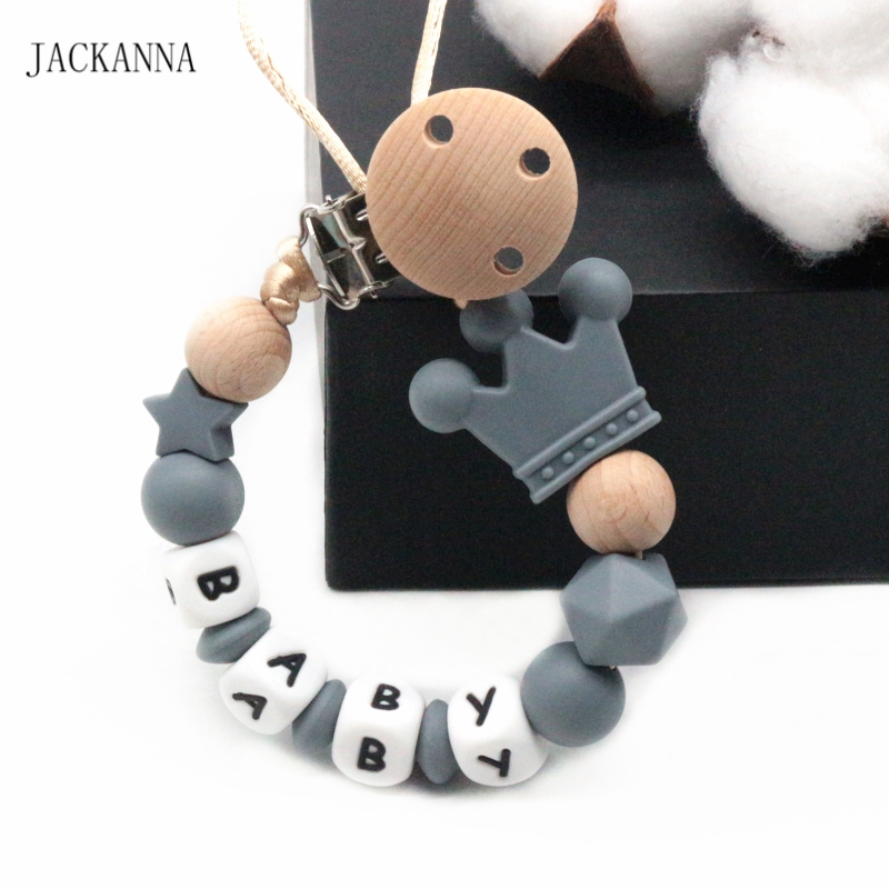 Personalizado Bebé Muñeco de Madera Cadena chupete Clip Soporte Ducha Regalo