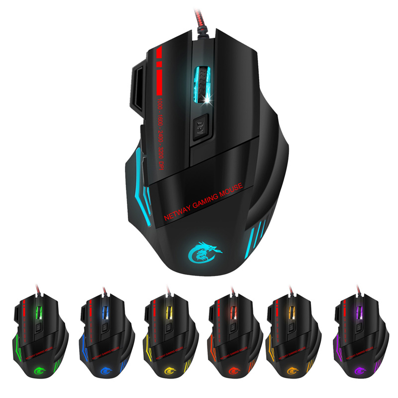 Wired Optical Gaming Mouse Max 5500DPI Resolution USB Lights Game Mice For Gamer Laptop XXM8 ...