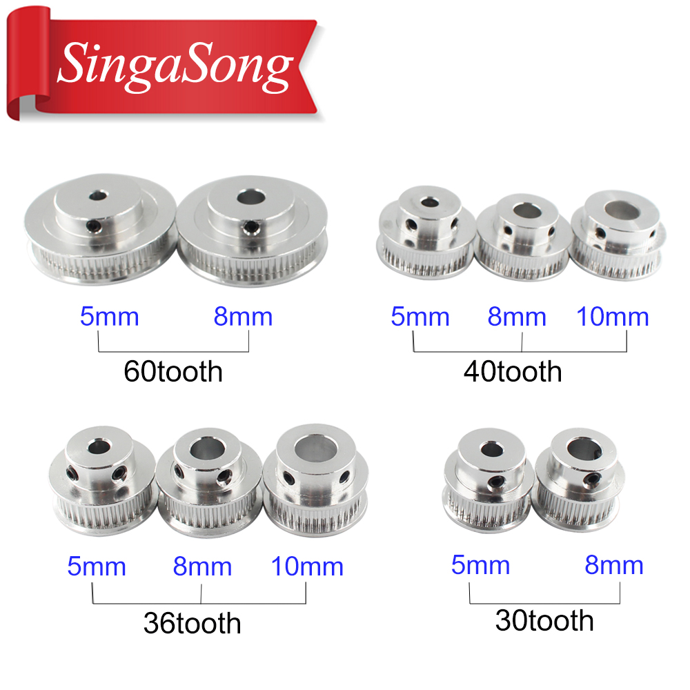 10pcs New GT2 Timing Pulley 30 36 40 60 Tooth Wheel Bore 5mm 8mm Aluminum Gear Teeth Width 6mm Parts For Reprap 3D Printers Part web page