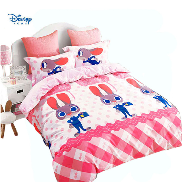 pink white rabbit judy bed linens 3d cotton disney Zootopia duvet/quilt cover single twin full queen size cute girl gift bedding