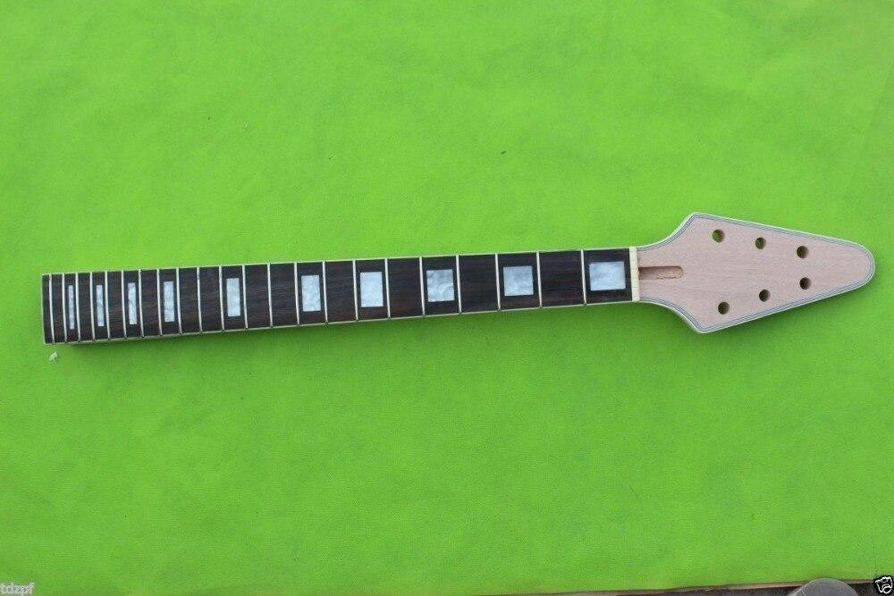 22 frette guitare cou acajou palissandre Fretboard volant V guitare cou remplacement inachevé
