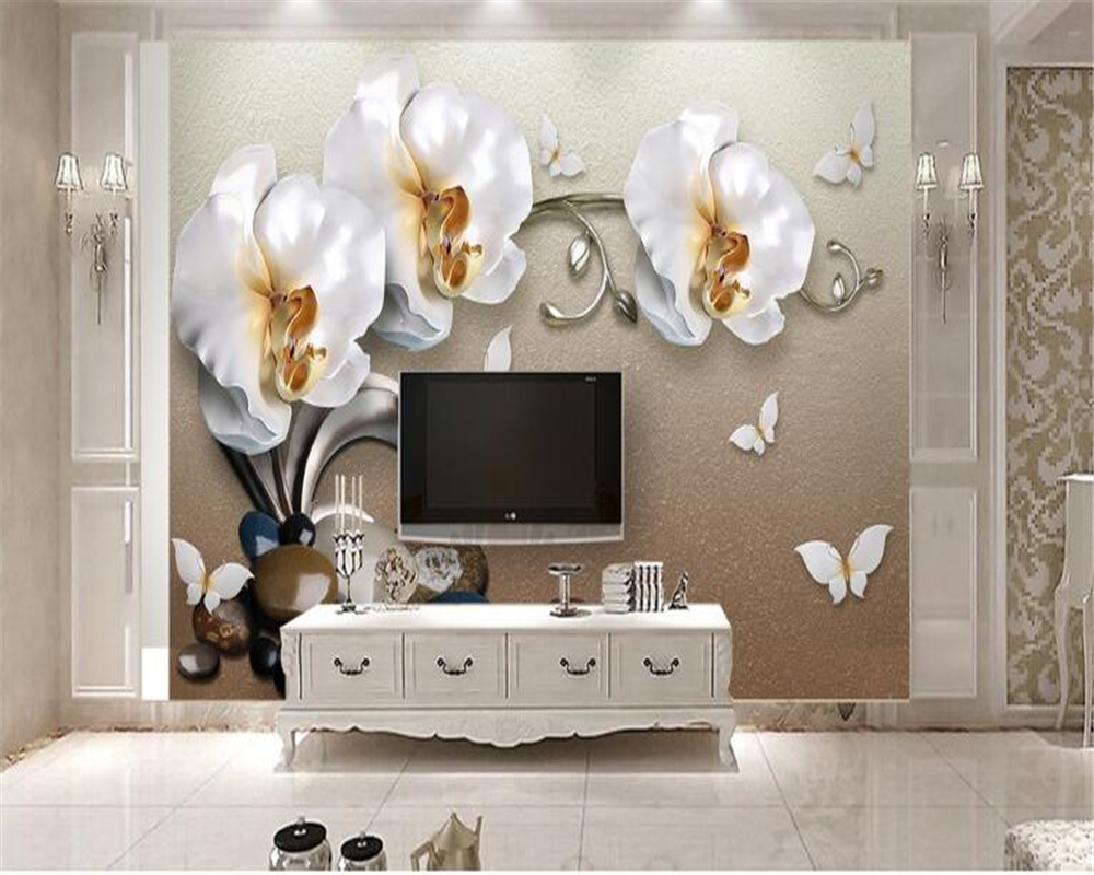 beibehang Custom Luxury Gold White Butterfly Orchid Wallpaper Photo Wall Sticker Home Decoration TV Background 3d wallpaper dsu family rules wall sticker for home decoration