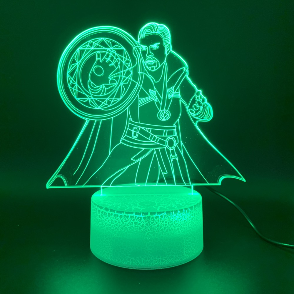 Led Night Light Marvel Superhero Doctor Strange Figure 3d Lamp Home Decor Holiday Gift For Kid Boy Child Novelty Light Marvel