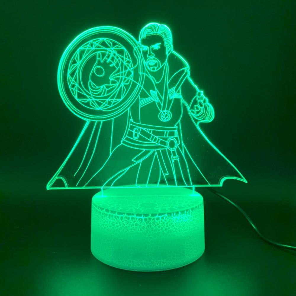 Led Night Light Marvel Superhero Doctor Strange Figure 3d Lamp Home Decor Holiday Gift For Kid Boy Child Novelty Light Marvel