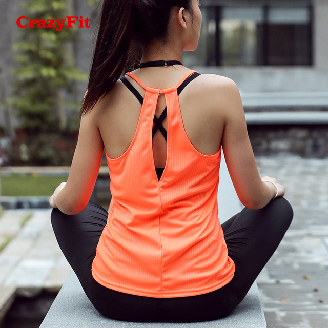 Orange Sleeveless Sports Fitness Tank Top