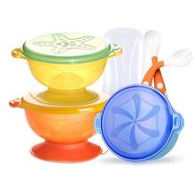 cute stone Spill-Proof TPE Suction BPA Free Non Slip for Toddlers Feeding Baby Bowls with 3 Bowls 2 Spoons 1 Fork 1 Travel Case(China)