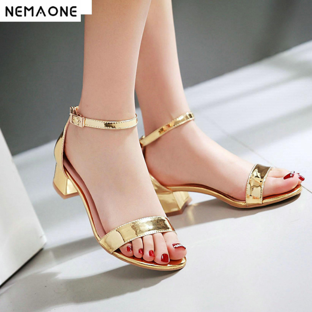 New Summer Women Sandals Open Toe Womens Sandles Thick Heel Women Shoes Korean Style Gladiator Shoes