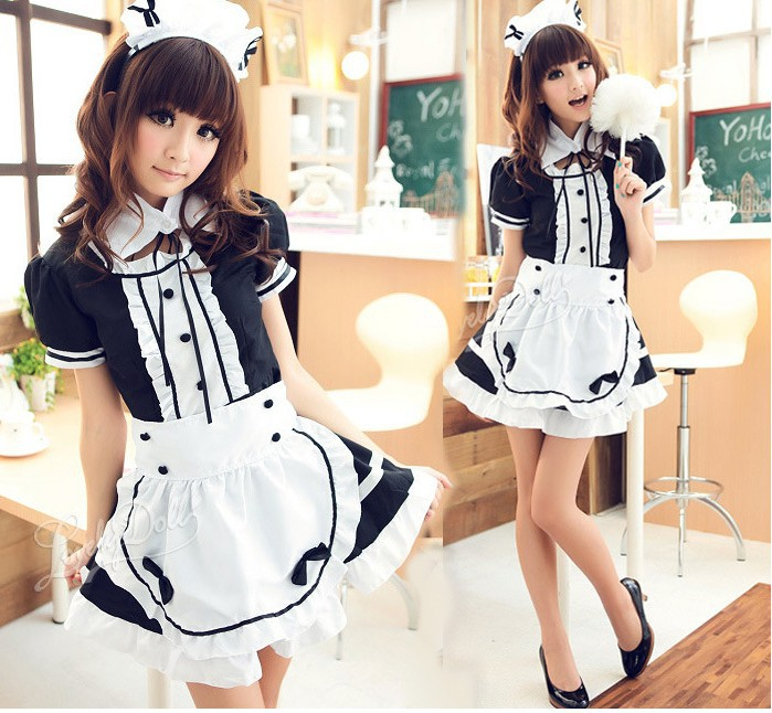 K-ON! Dress Maid Costume Sweet Gothic Lolita Dress Anime Cosplay Sissy Maid Uniform Plus Size Halloween Costumes For Women