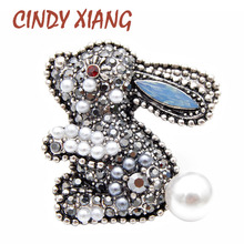 CINDY XIANG new arrival 2 colors choose rhinestone rabbit brooches for women kids pins cute carton style bonny brooch good gift