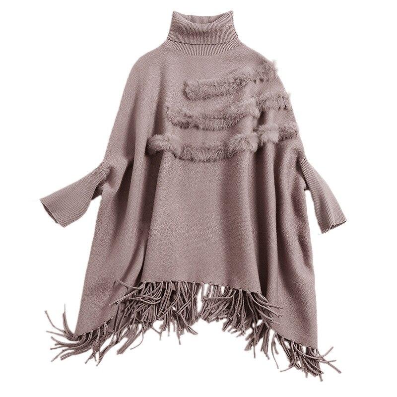 Hiver khaki 2018 Mode Chandails Glands Roulé Casual Femmes Wyg Mélange Col Cap Spéciale Knit red Automne Élégant Gray Offre Tenues Viscose qzIYHwa
