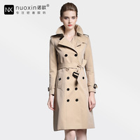 Nuoxin 2017 Spring Autumn Clothing Solid Color Lady Long Windbreak Double Breasted Slim Bur Women Trench
