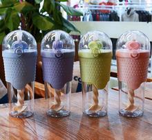 500ML Kids Plastic Water bottles Protein Shaker Blender Bottles with straw BPA Free Portable Sport My