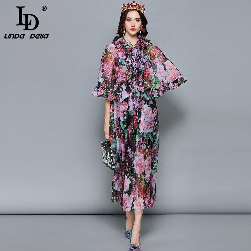 LD LINDA DELLA Mode Designer Sommer Urlaub Kleid frauen Mantel Hülse Rüschen Vintage Floral Print Chiffon Elegantes Kleid-in Kleider aus Damenbekleidung bei  Gruppe 1