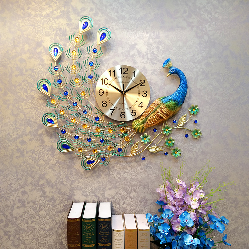 Современные металлические изысканный павлин большие часы отель Книги по искусству благоприятный Украшения иглы цифровой qu Книги по искусс