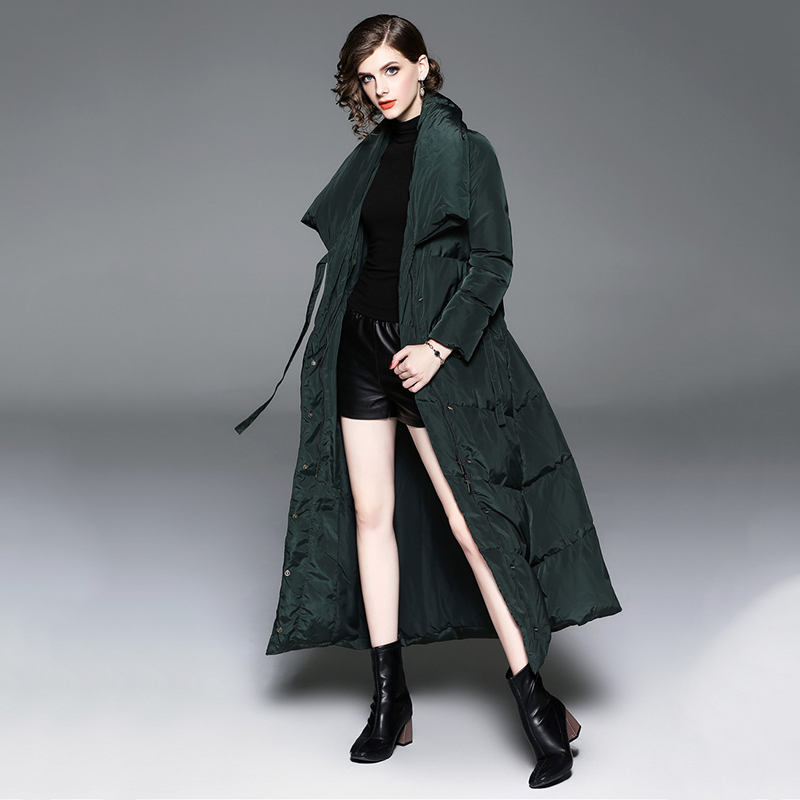 Femmes dark Veste Stand Turn ligne Mode Longues Manteaux down Manches A Femme Green 2018 Black Collar Vêtements No684 De Bas Vers Le Nouvelles Automne Hiver Vestes SXAxqTwA5