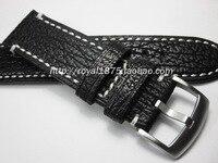 2018 New Design Men Black 22mm Handmade Shark Leather Strap Top Level Handmade Leather Fashion Watchband