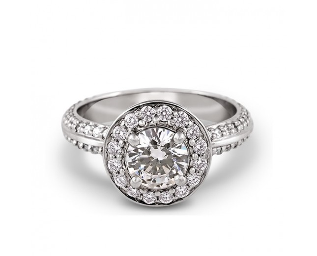 Pave Shank Halo 1.25CT Center Lab Grown Diamond Ring Solid 9k Gold Jewelry White Gold Engagement Wedding Ring Accents