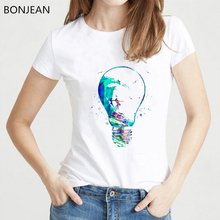 Novelty design watercolor surfer girl in bulb t shirt women hipster cool