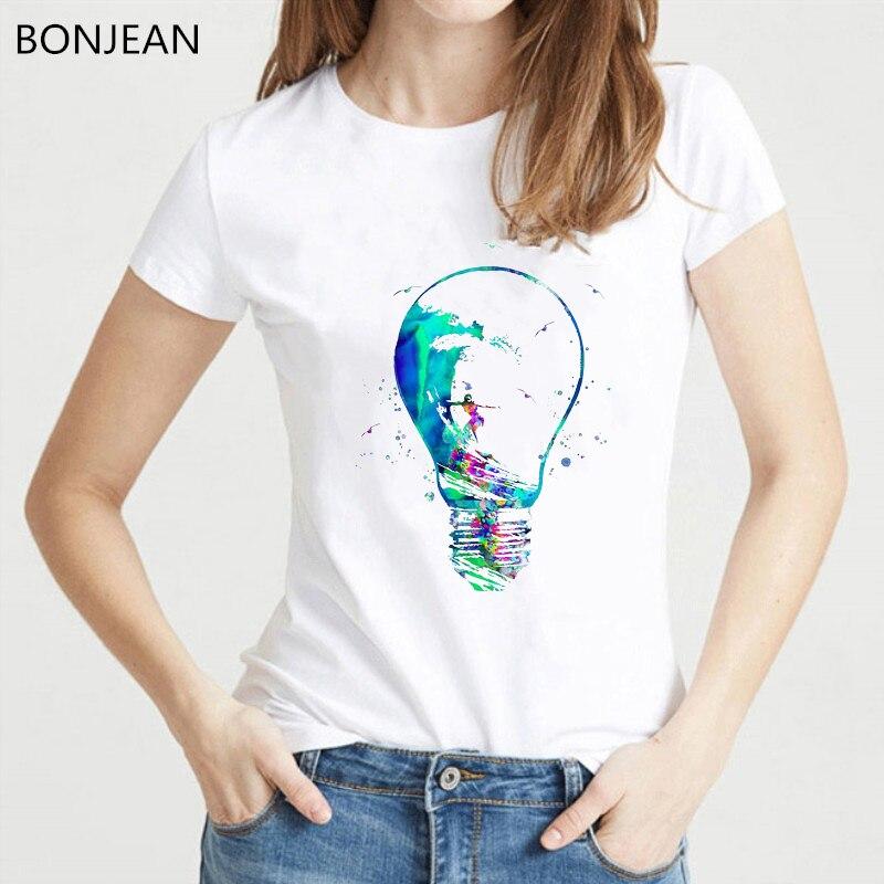 Novelty design watercolor surfer girl in bulb t shirt women hipster cool ladies tee shirt femme korean style t-shirt female