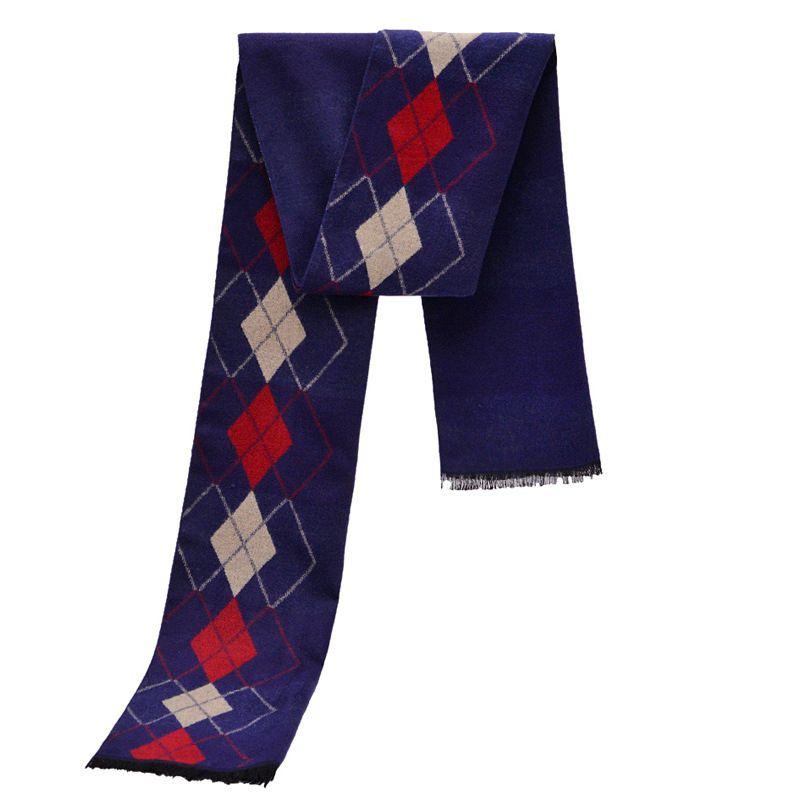 Fashion font b Tartan b font Scarves Men Winter Luxury Brand Design Rhombus Pattern Scarfs Long
