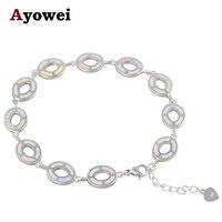 Wysokiej Jakości Biały Ogień Opal Charm Bransoletki Srebrny Tłoczony & Hurt Detal Najniższy Koszt Biżuteria dla Pań OB067A