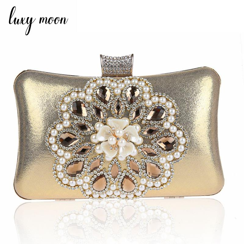2018 Luxury diamond evening bag flower rhinestone day clutch Evening clutch Bags gold silver red blue black Purse and Handbags