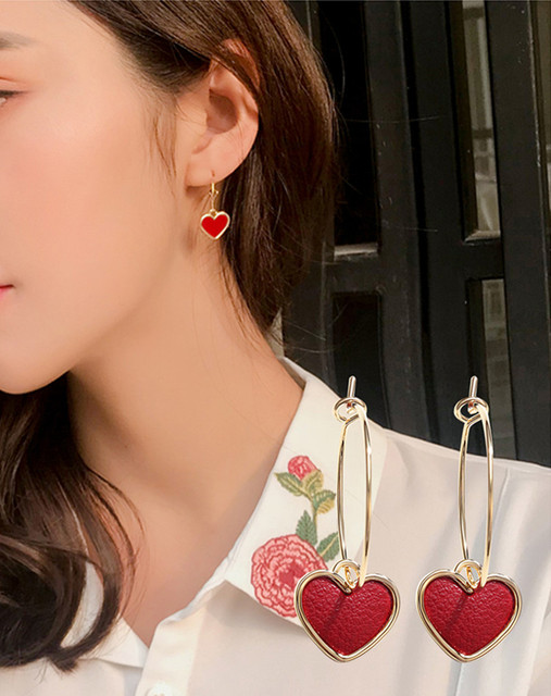 Женские серьги в виде сердца chimera простые красные подвески