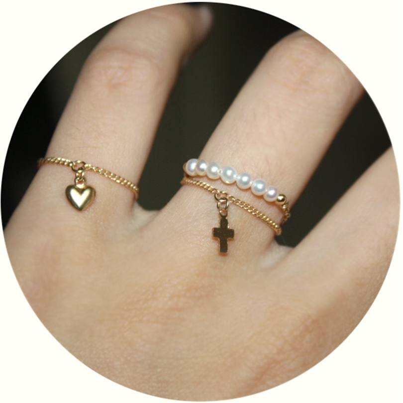 Fashion Ring Women 14k Golden Ring With Cross Heart-shape Wedding Engagement Jewelry Romantic Gift Female Bijoux Fine Jewelry