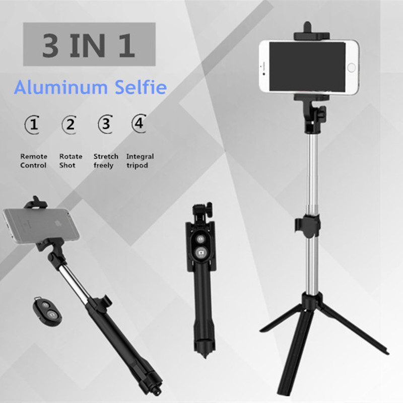 FGHGF T1 Remoto Bluetooth selfie Vara Extensível Mini Tripé Monopé Universal Pau De Palo selfie vara Para iphone 6 7 8