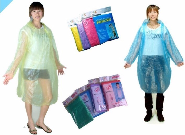 2pcs/pack One-time Solid Raincoat Disposable PE Poncho Rainwear Camping Travel Rain Gear