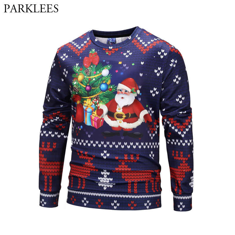 Funny 3D Santa Claus Print Sweatshirt Men 2018 Autumn New Long Sleeve  Christmas Pullover Men Harajuku bce3494cd104