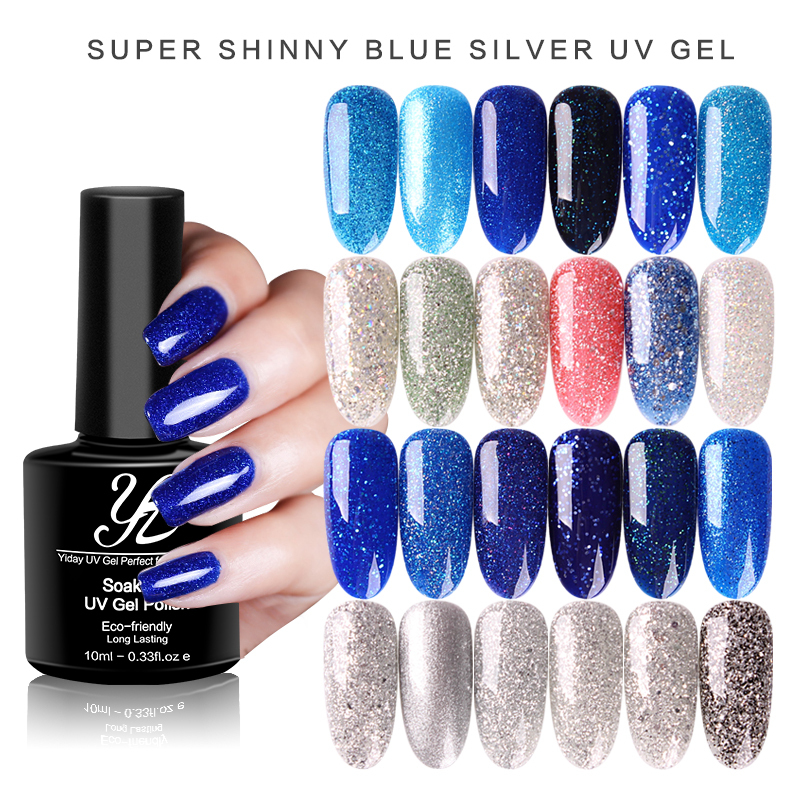 Yiday Bling Platinum Silver Sequins Glitter Blue UV Gel Nail Polish Varnish Soak Off Lacquer Shimmer Nail Art Manicure Need Lamp