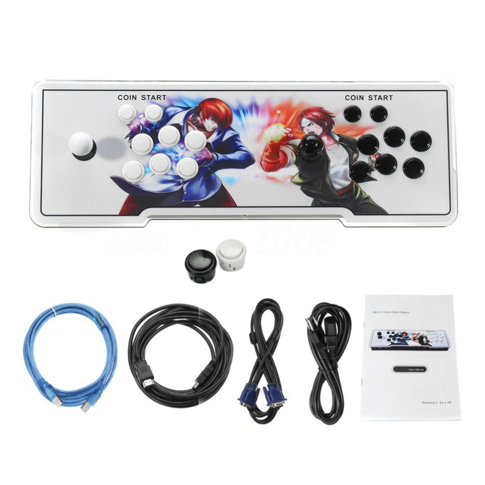 875 Games Home Multiplayer Arcade Game Console Controller Kit Set Double Joystick Console Best Gift for Children arcade joystick gamepad kit 800 games in 1 video tv jamma 2 joystick vga hidmi metal double stick arcade console with 2players