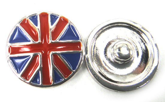 Free shipping hot selling UK flag DIY snap button charm