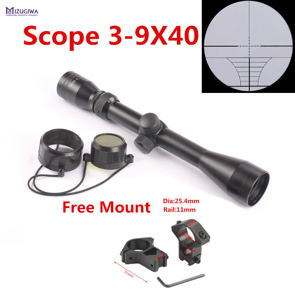 Tactical Riflescope 3-9x40 Rifle Scope Outdoor Reticle Sight Optics Optical Sight Scope Airgun + Free 11mm / 20mm Rail Mount купить в Москве 2019