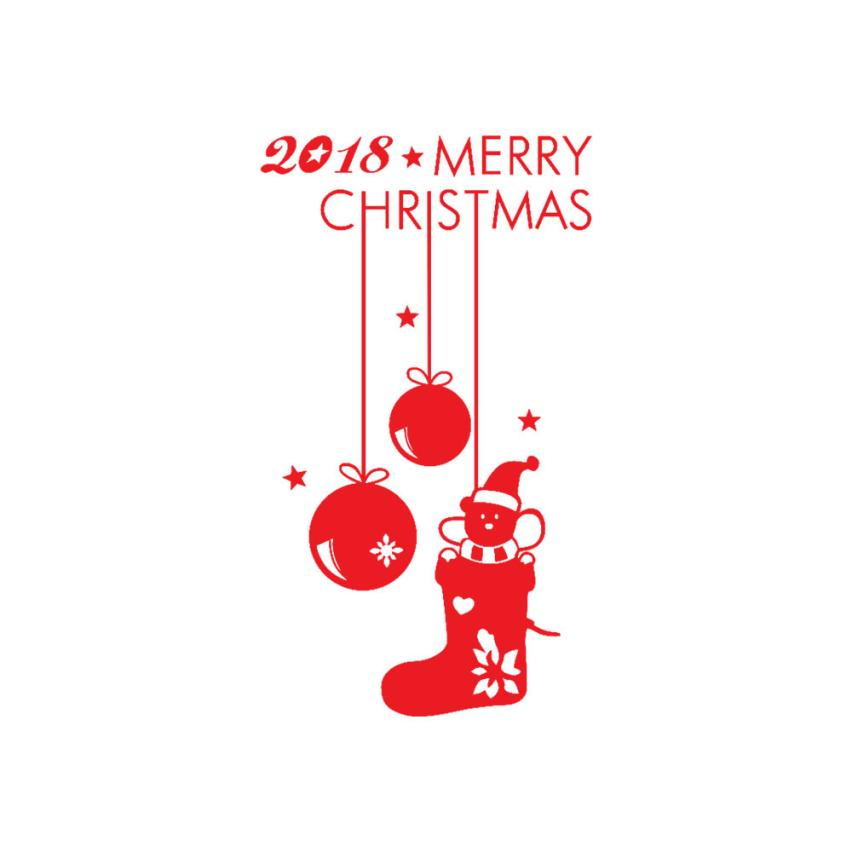 Wall stickers Happy New Year 2018 Merry Christmas Tree Wall Sticker Home Shop Windows Decals wall stickers bedroom APR16