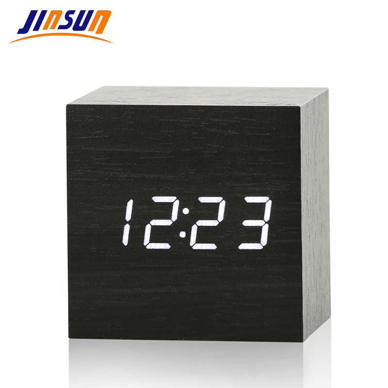 JINSUN New Modern Wooden Led Clock Square Style Desktop Clock Led Digital Single Face Alarm Clock Activated Watch despertador