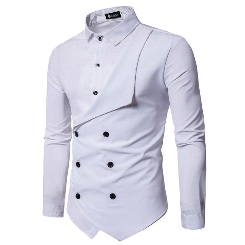 Для мужчин 2018 Весенние Новые брендовые Для мужчин Slim Fit платье рубашка мужской одежда с длинным рукавом поддельные два Повседневная рубашка...