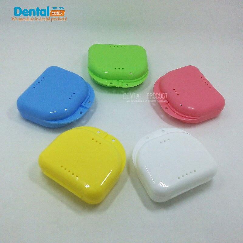 free shipping 50pcs Denture Box dental box Denture Case With Holes False Teeth Protective Dental Case