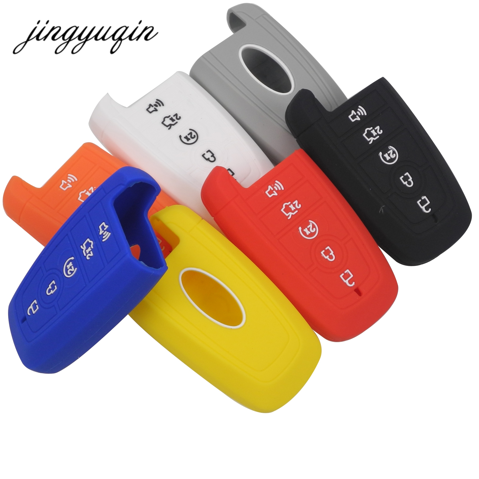 Jingyuqin 10pcs lot new silicone car key cover for ford fusion hybrid mondeo 5 buttons rubber remote flip folding fob case