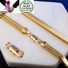 OMHXZJ Wholesale Personality Fashion Man Party Wedding Gift Gold Snake Chain 18KT Bracelet+Necklace Jewelry Set SE43