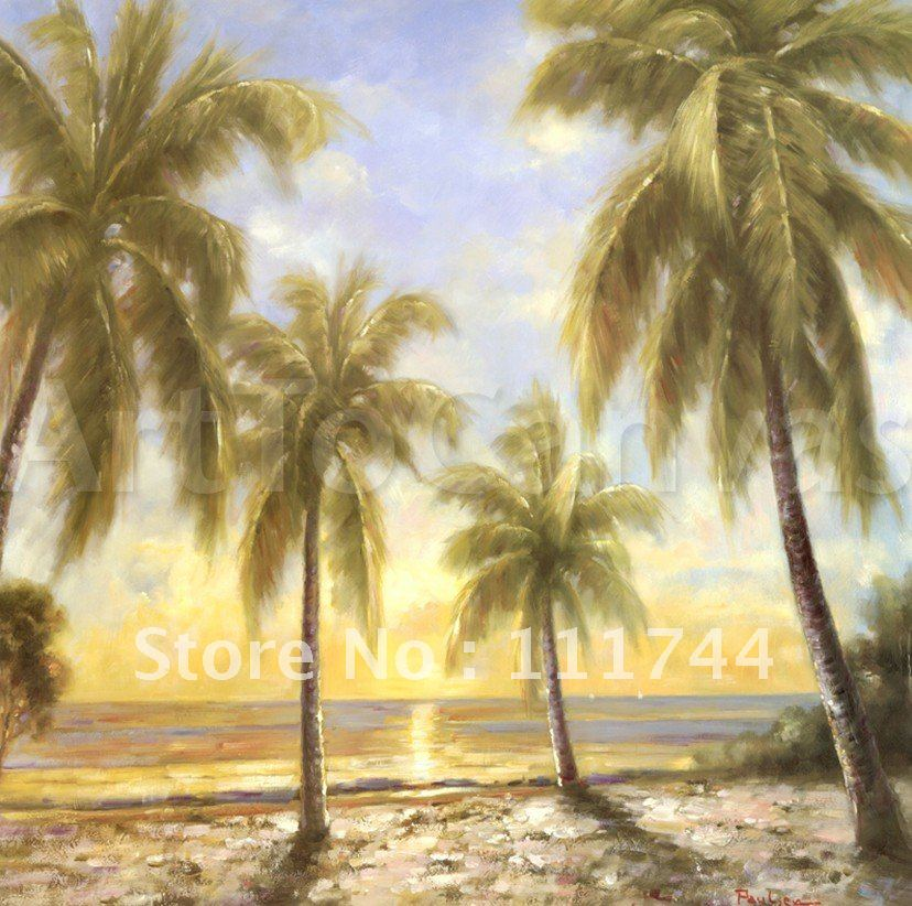 Landscape oil painting Home Decoration Caribbean Water seaside High quality 100% handmade free shipping