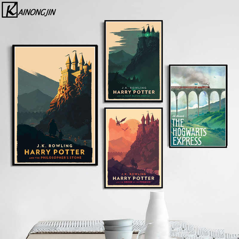 Hogwarts Castle Poster Movie Harry Potter Retro Posters and Prints Canvas Painting Wall Art Picture for Living Room Home Decor