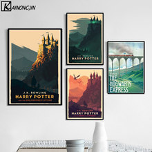 Hogwarts Castle Poster Movie Harry Potter Retro Posters and Prints Canvas Painting Wall Art Picture for Living Room Home Decor(China)