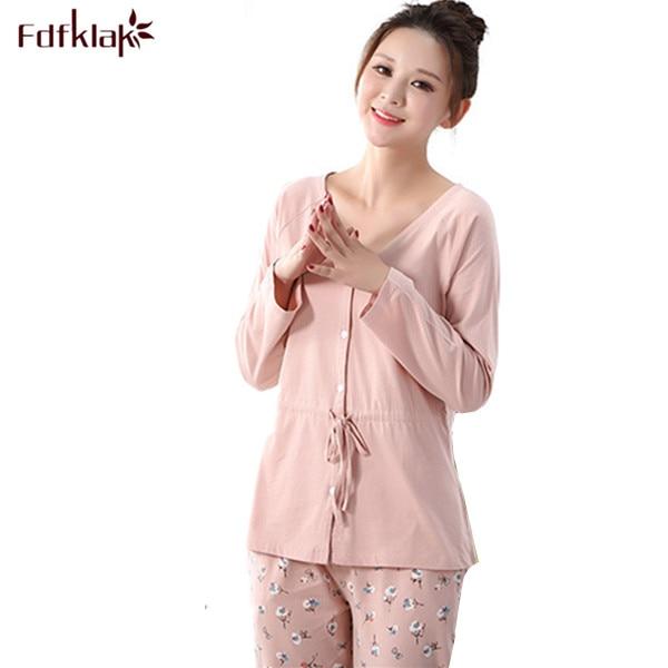 Free Shipping Women Pajamas Set Pyjamas Cotton Sleepwear Autumn Women Night  Suit Tracksuit Home Clothing For Female M XXL Q38-in Pajama Sets from  Underwear ... 32750f1da