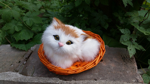 simulation 12x10cm lovely cat model with basket toy polyethylene furs kitty model home decoration gift t251