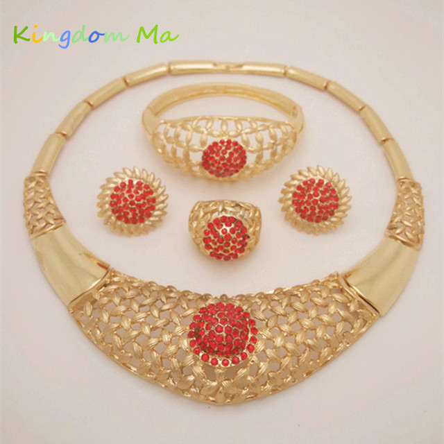Kingdom Ma African Costume Wedding Gold Color Jewelry Sets Party Bridal Necklace Earrings