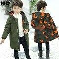 Костюм для маленьких мальчиков От 3 до 13 лет детская зимняя хлопковая теплая куртка с капюшоном для мальчиков детская камуфляжная куртка по...